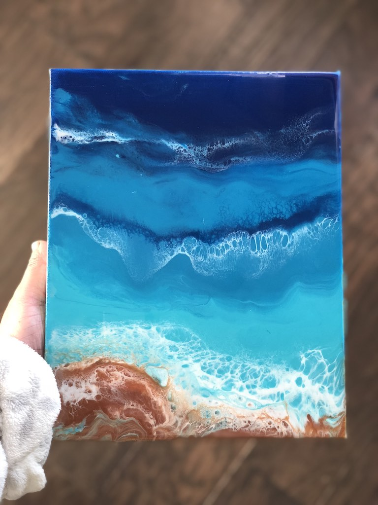 Water Waves from Resin